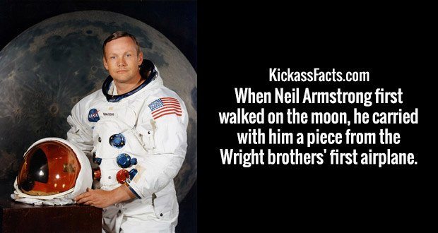 When Neil Armstrong first walked on the moon, he carried with him a piece from the Wright brothers' first airplane.