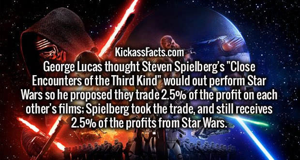 """George Lucas thought Steven Spielberg's """"Close Encounters of the Third Kind"""" would out perform Star Wars so he proposed they trade 2.5% of the profit on each other's films; Spielberg took the trade, and still receives 2.5% of the profits from Star Wars."""