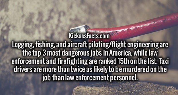 Logging, fishing, and aircraft piloting/flight engineering are the top 3 most dangerous jobs in America, while law enforcement and firefighting are ranked 15th on the list. Taxi drivers are more than twice as likely to be murdered on the job than law enforcement personnel.