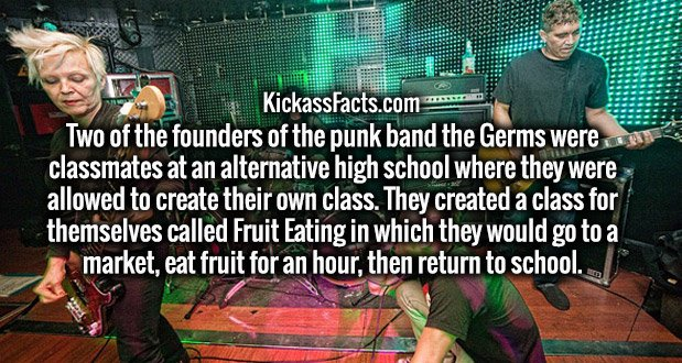 Two of the founders of the punk band the Germs were classmates at an alternative high school where they were allowed to create their own class. They created a class for themselves called Fruit Eating in which they would go to a market, eat fruit for an hour, then return to school.