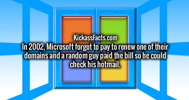 In 2002, Microsoft forgot to pay to renew one of their domains and a random guy paid the bill so he could check his hotmail.
