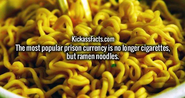 The most popular prison currency is no longer cigarettes, but ramen noodles.
