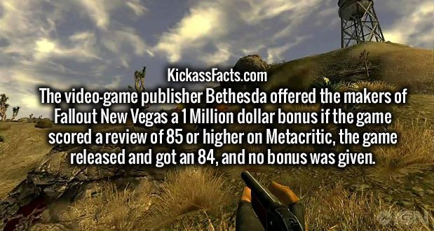 The video-game publisher Bethesda offered the makers of Fallout New Vegas a 1 Million dollar bonus if the game scored a review of 85 or higher on Metacritic, the game released and got an 84, and no bonus was given.