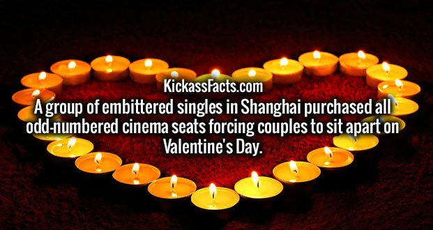 A group of embittered singles in Shanghai purchased all odd-numbered cinema seats forcing couples to sit apart on Valentine's Day.