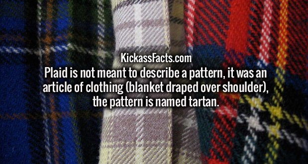 Plaid is not meant to describe a pattern, it was an article of clothing (blanket draped over shoulder), the pattern is named tartan.