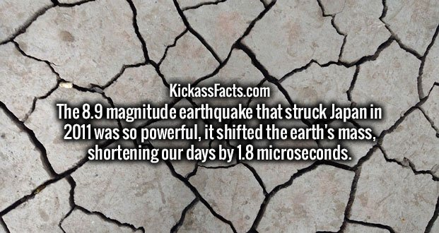 The 8.9 magnitude earthquake that struck Japan in 2011 was so powerful, it shifted the earth's mass, shortening our days by 1.8 microseconds.