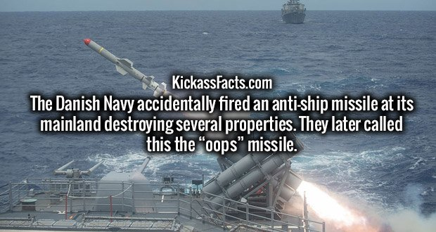 """The Danish Navy accidentally fired an anti-ship missile at its mainland destroying several properties. They later called this the """"oops"""" missile."""