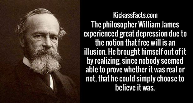 The philosopher William James experienced great depression due to the notion that free will is an illusion. He brought himself out of it by realizing, since nobody seemed able to prove whether it was real or not, that he could simply choose to believe it was.