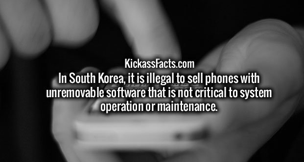 In South Korea, it is illegal to sell phones with unremovable software that is not critical to system operation or maintenance.