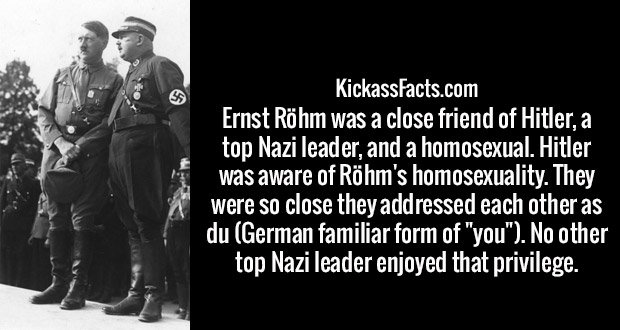 "Ernst Röhm was a close friend of Hitler, a top Nazi leader, and a homosexual. Hitler was aware of Röhm's homosexuality. They were so close they addressed each other as du (German familiar form of ""you""). No other top Nazi leader enjoyed that privilege."