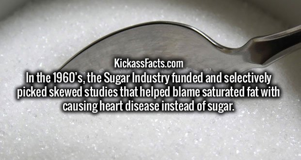 In the 1960's, the Sugar Industry funded and selectively picked skewed studies that helped blame saturated fat with causing heart disease instead of sugar.