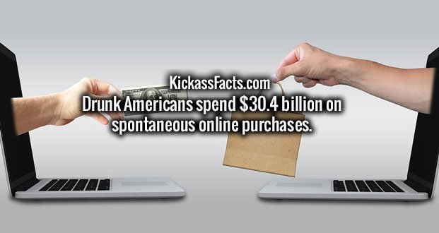 Drunk Americans spend $30.4 billion on spontaneous online purchases.