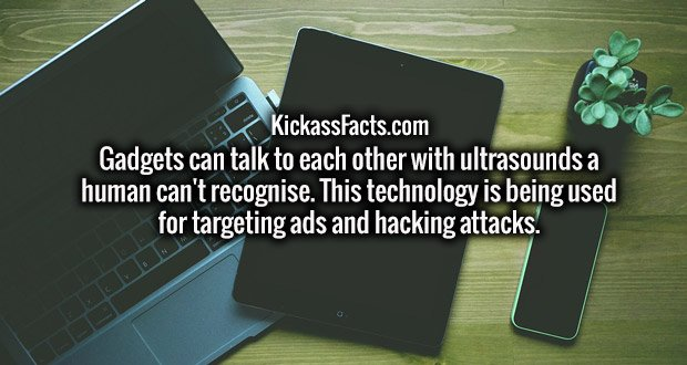 Gadgets can talk to each other with ultrasounds a human can't recognise. This technology is being used for targeting ads and hacking attacks.