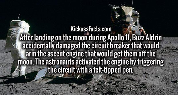 After landing on the moon during Apollo 11, Buzz Aldrin accidentally damaged the circuit breaker that would arm the ascent engine that would get them off the moon. The astronauts activated the engine by triggering the circuit with a felt-tipped pen.