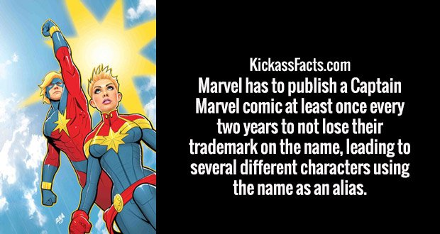 Marvel has to publish a Captain Marvel comic at least once every two years to not lose their trademark on the name, leading to several different characters using the name as an alias.