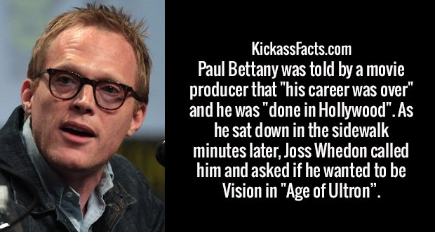 "Paul Bettany was told by a movie producer that ""his career was over"" and he was ""done in Hollywood"". As he sat down in the sidewalk minutes later, Joss Whedon called him and asked if he wanted to be Vision in ""Age of Ultron""."