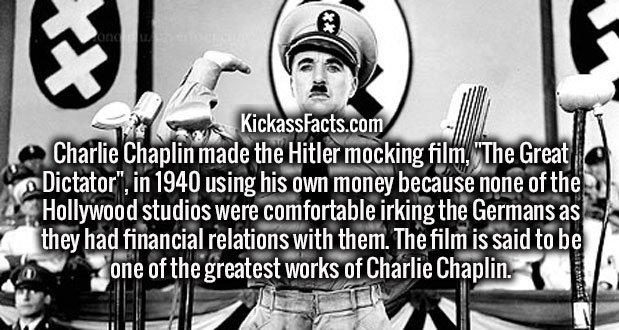 """Charlie Chaplin made the Hitler mocking film, """"The Great Dictator"""", in 1940 using his own money because none of the Hollywood studios were comfortable irking the Germans as they had financial relations with them. The film is said to be one of the greatest works of Charlie Chaplin."""