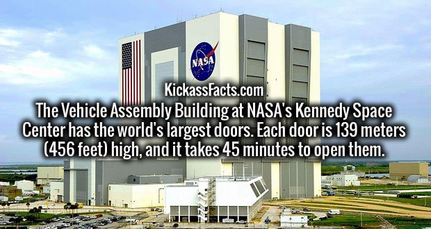 The Vehicle Assembly Building at NASA's Kennedy Space Center has the world's largest doors. Each door is 139 meters (456 feet) high, and it takes 45 minutes to open them.