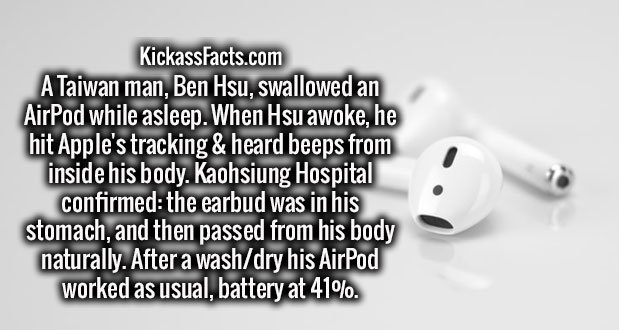 A Taiwan man, Ben Hsu, swallowed an AirPod while asleep. When Hsu awoke, he hit Apple's tracking & heard beeps from inside his body. Kaohsiung Hospital confirmed: the earbud was in his stomach, and then passed from his body naturally. After a wash/dry his AirPod worked as usual, battery at 41%.