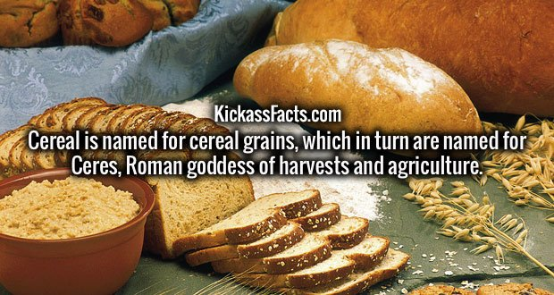 Cereal is named for cereal grains, which in turn are named for Ceres, Roman goddess of harvests and agriculture.