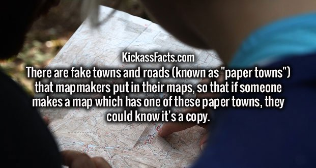 """There are fake towns and roads (known as """"paper towns"""") that mapmakers put in their maps, so that if someone makes a map which has one of these paper towns, they could know it's a copy."""
