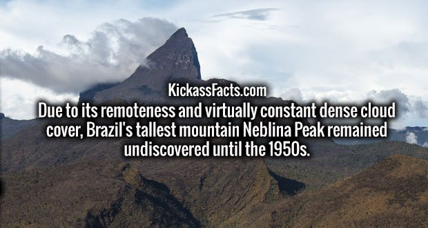 Due to its remoteness and virtually constant dense cloud cover, Brazil's tallest mountain Neblina Peak remained undiscovered until the 1950s.