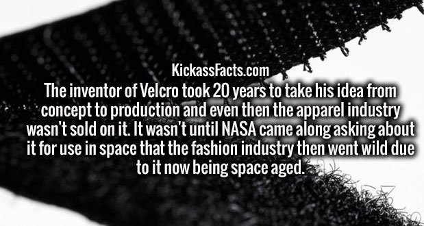 The inventor of Velcro took 20 years to take his idea from concept to production and even then the apparel industry wasn't sold on it. It wasn't until NASA came along asking about it for use in space that the fashion industry then went wild due to it now being space aged.