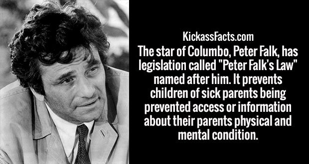 "The star of Columbo, Peter Falk, has legislation called ""Peter Falk's Law"" named after him. It prevents children of sick parents being prevented access or information about their parents physical and mental condition."