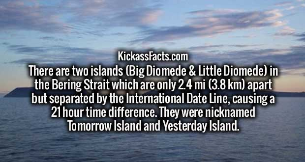 There are two islands (Big Diomede & Little Diomede) in the Bering Strait which are only 2.4 mi (3.8 km) apart but separated by the International Date Line, causing a 21 hour time difference. They were nicknamed Tomorrow Island and Yesterday Island.