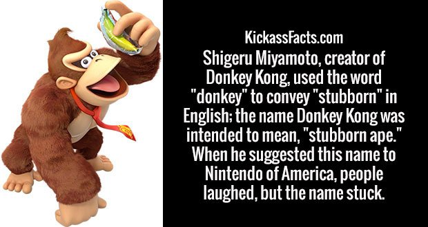 """Shigeru Miyamoto, creator of Donkey Kong, used the word """"donkey"""" to convey """"stubborn"""" in English; the name Donkey Kong was intended to mean, """"stubborn ape."""" When he suggested this name to Nintendo of America, people laughed, but the name stuck."""