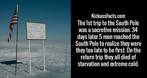 The 1st trip to the South Pole was a secretive mission. 34 days later 5 men reached the South Pole to realize they were they too late to be first. On the return trip they all died of starvation and extreme cold.