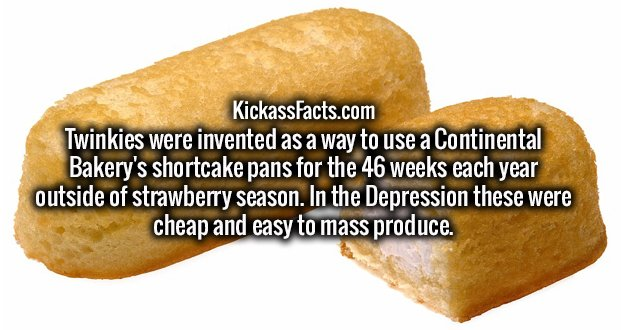 Twinkies were invented as a way to use a Continental Bakery's shortcake pans for the 46 weeks each year outside of strawberry season. In the Depression these were cheap and easy to mass produce.