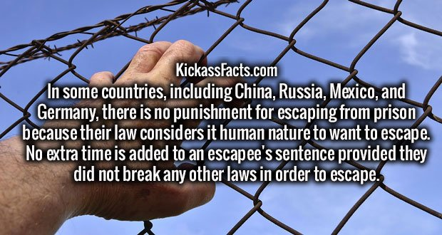 In some countries, including China, Russia, Mexico, and Germany, there is no punishment for escaping from prison because their law considers it human nature to want to escape. No extra time is added to an escapee's sentence provided they did not break any other laws in order to escape.