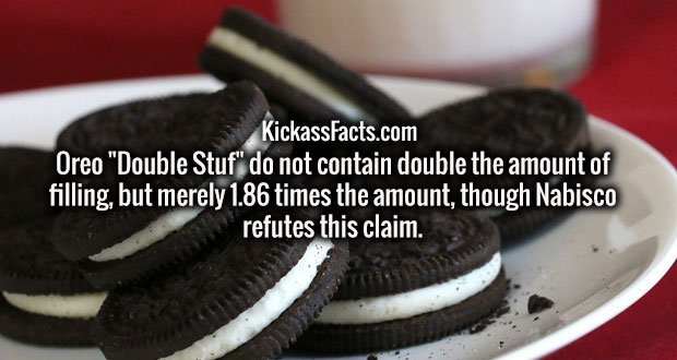 "Oreo ""Double Stuf"" do not contain double the amount of filling, but merely 1.86 times the amount, though Nabisco refutes this claim."