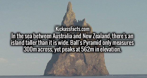 In the sea between Australia and New Zealand, there's an island taller than it is wide. Ball's Pyramid only measures 300m across, yet peaks at 562m in elevation.