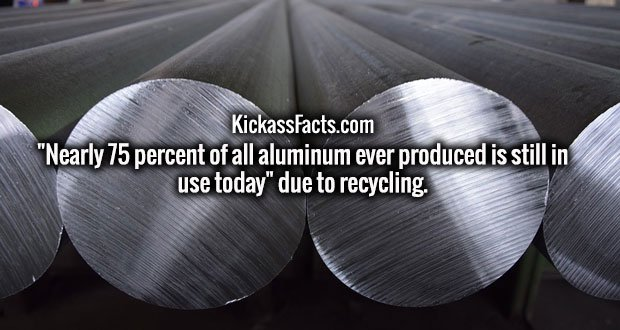 """Nearly 75 percent of all aluminum ever produced is still in use today"" due to recycling."