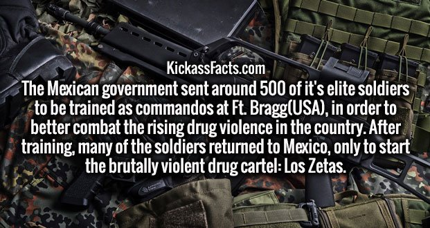 The Mexican government sent around 500 of it's elite soldiers to be trained as commandos at Ft. Bragg(USA), in order to better combat the rising drug violence in the country. After training, many of the soldiers returned to Mexico, only to start the brutally violent drug cartel: Los Zetas.