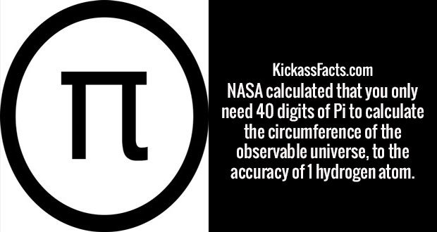 NASA calculated that you only need 40 digits of Pi to calculate the circumference of the observable universe, to the accuracy of 1 hydrogen atom.