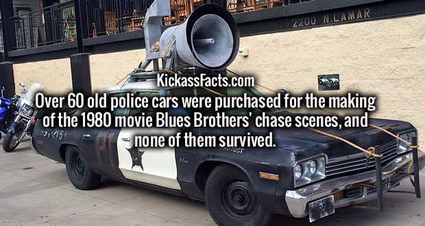 Over 60 old police cars were purchased for the making of the 1980 movie Blues Brothers' chase scenes, and none of them survived.