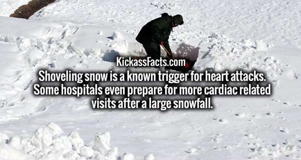 Shoveling snow is a known trigger for heart attacks. Some hospitals even prepare for more cardiac related visits after a large snowfall.