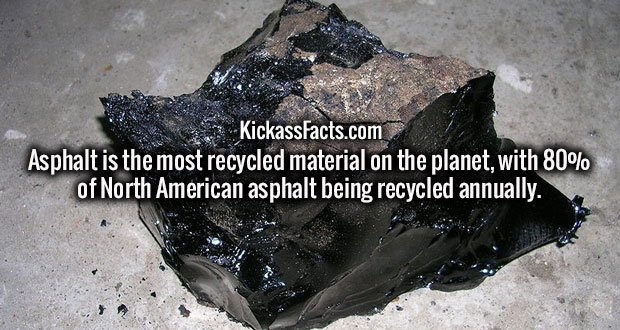 Asphalt is the most recycled material on the planet, with 80% of North American asphalt being recycled annually.
