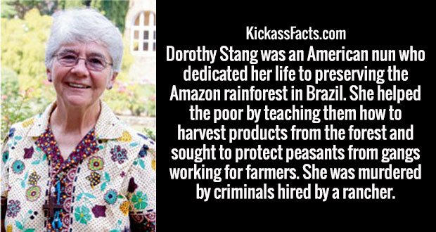 Dorothy Stang was an American nun who dedicated her life to preserving the Amazon rainforest in Brazil. She helped the poor by teaching them how to harvest products from the forest and sought to protect peasants from gangs working for farmers. She was murdered by criminals hired by a rancher.
