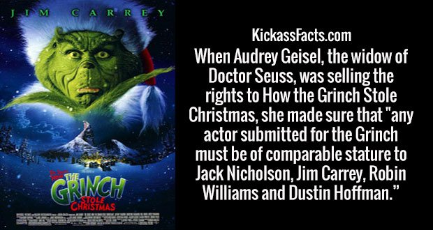 """When Audrey Geisel, the widow of Doctor Seuss, was selling the rights to How the Grinch Stole Christmas, she made sure that """"any actor submitted for the Grinch must be of comparable stature to Jack Nicholson, Jim Carrey, Robin Williams and Dustin Hoffman."""""""