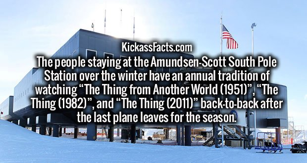 """The people staying at the Amundsen–Scott South Pole Station over the winter have an annual tradition of watching """"The Thing from Another World (1951)"""", """"The Thing (1982)"""", and """"The Thing (2011)"""" back-to-back after the last plane leaves for the season."""