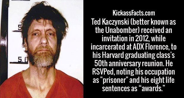 """Ted Kaczynski (better known as the Unabomber) received an invitation in 2012, while incarcerated at ADX Florence, to his Harvard graduating class's 50th anniversary reunion. He RSVPed, noting his occupation as """"prisoner"""" and his eight life sentences as """"awards."""""""