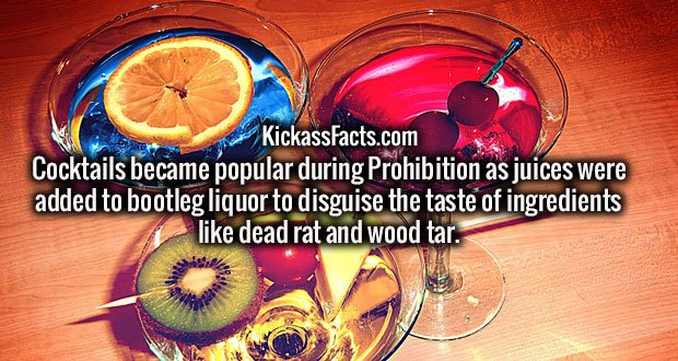 Cocktails became popular during Prohibition as juices were added to bootleg liquor to disguise the taste of ingredients like dead rat and wood tar.