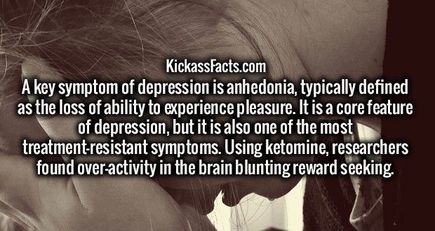 A key symptom of depression is anhedonia, typically defined as the loss of ability to experience pleasure. It is a core feature of depression, but it is also one of the most treatment-resistant symptoms. Using ketomine, researchers found over-activity in the brain blunting reward seeking.