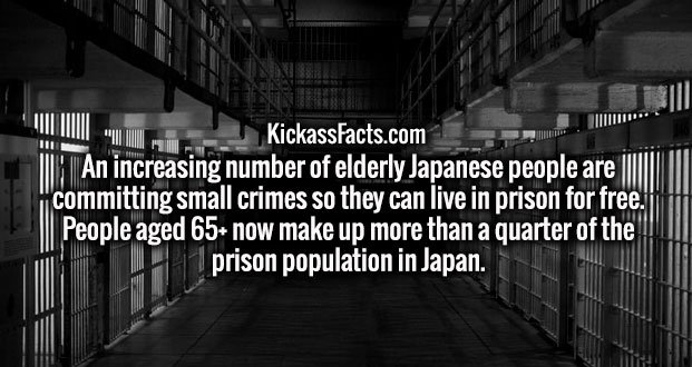 An increasing number of elderly Japanese people are committing small crimes so they can live in prison for free. People aged 65+ now make up more than a quarter of the prison population in Japan.