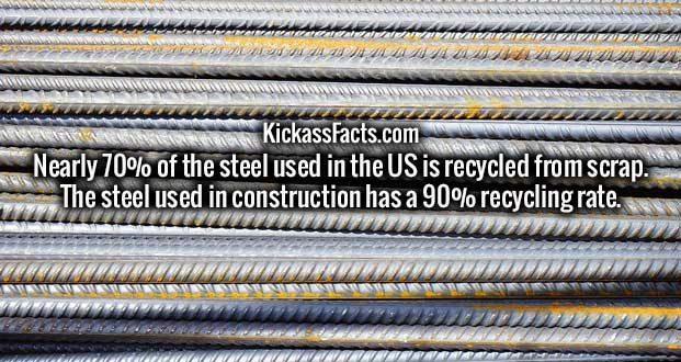 Nearly 70% of the steel used in the US is recycled from scrap. The steel used in construction has a 90% recycling rate.