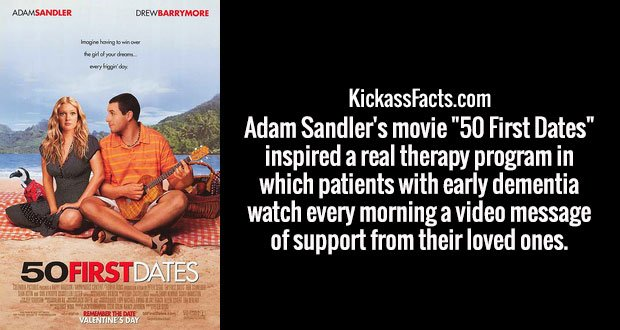 "Adam Sandler's movie ""50 First Dates"" inspired a real therapy program in which patients with early dementia watch every morning a video message of support from their loved ones."